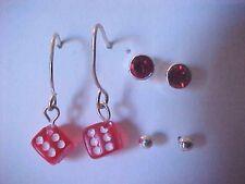 Red Dice Earrings SET 2 Red Crystal Stud Earrings Silver Ball Pierced Earrings