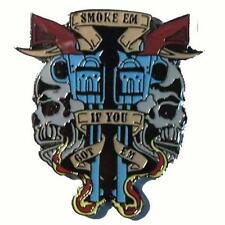 SMOKE PISTOL SKULL HAT PIN 500 biker lapel badge tac novelty metal hatpin new