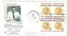 US 1096 FDC Ramon Magsaysay  block of 4 1957