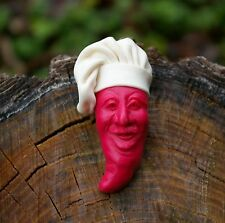 Red Chile Pepper Chef Cook Fridge Refrigerator Magnet White Hat by Clay Critters