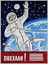 Soviet Space Poster Canvas HQ Print 8x10+1'' Border GAGARIN POJEHALJI!