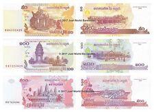 Cambogia 50 + 100 + 500 riels Set di banconote 3 PZ UNC