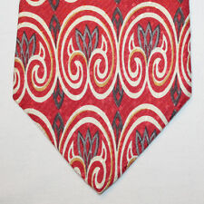 NEW Monsieur Givenchy Silk Neck Tie Red with Beige and Gray Pattern 1534