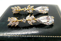 JEWELLERY STUNNING ART DECO STYLE SPARKLING MARQUISE CUT CRYSTAL EARRINGS