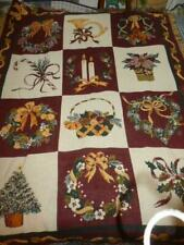 "Vintage Goodwin Weavers 100% Cotton Christmas Greenery Throw Blanket 48"" X 66"""