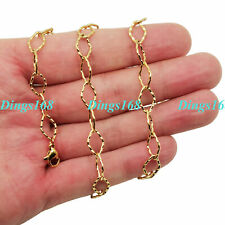 wide Rhombus Link Chain Necklace E093Y 18K Yellow Gold Filled Tarnish-Free 7mm