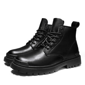 Punk Style Casual Men's Round Toe High-Top Lace-Up Non-Slip Ankle Boots Oversize