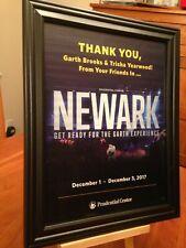 "Big 10x13 Framed Garth Brooks ""Live In Newark New Jersey 2017"" Concert Promo Ad"