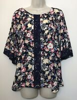 NWT Nordstroms Everleigh Medium Blouse Black Pink Floral Half Sleeve Boho Top