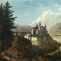 Innsbruck Austria Schloss Amras castle 1830-40 gorgeous gem print old hand color