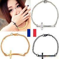 Bracelet Croix Métal mode coréenne Christianisme Prier Dieu 3 couleurs