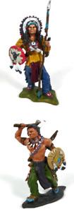 Lot de 2 Figurines Indiens du Far West Sitting Bull + Morning Star 1/32 60mm IL4