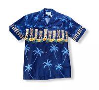 KY's Hawaiian Aloha Shirt Blue Tiki Aloha Tribal  Large Made in Hawaii