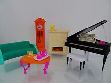 Vintage 1980s Mattel Barbie Living Room Collection Grand Piano Fireplace + More