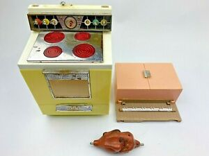 Vtg 1960's Deluxe Reading Dream Kitchen Stove Oven As Is with Turkey