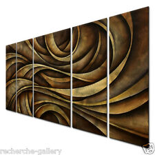 Brushed Metal Artwork Abstract Wall Sculpture Neutral Waves by Michael Lang