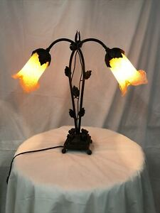 ART DECO STL HANDMADE WROUGHT IRON TABLE LAMP 2 BLOWN GLASS SHADES  YELLOW WHITE