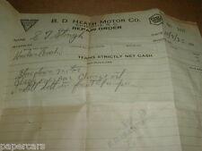 1923 Hudson Super Six Essex Motor car automobile Charlotte NC vintage receipt