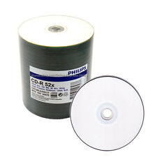 500 PHILIPS 52X Blank White Inkjet Printable CD-R Disc