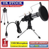 USB Recording Microphone Studio Sound Record Mic Streaming Podcast Tripod Stand
