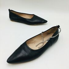 MIU MIU Women's Pointed Toe Ballet Flat Size 36 Black Leather, MSRP $690