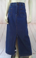 Bill Blass Jean Skirt 14 Maxi Cotton Denim Blue Wash Half Elastic Waist Chic
