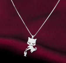 pure 925 silver lovely cat and fish fashion wedding party charm neckles