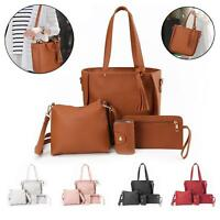 4pcs Women Lady PU Leather Handbag Shoulder Tote Purse Satchel Messenger Bag Set