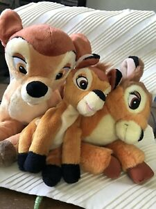 "Bambi Family Of 3 Mom Dad Baby Disney Store Bambi Deer Plush Toys 12"" 12"" 8"""