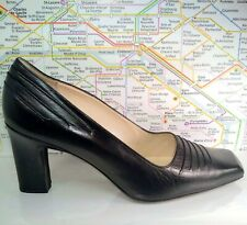 BALLY Sombrero Black Leather Pumps Business Career Women US 7.5 Switzerland Made