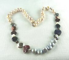 Freshwater Pearl, Created Aventurines, Chalcedony/Glass Bead Silver Necklace