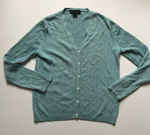 Brooks Brothers Womens Sz M Teal Silk/Cashmere Cable Knit Cardigan Sweater