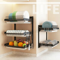 US Wall Mounted Stainless Steel Kitchen Shelf Rack Drying Drain Home Dish Holder