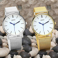 Women's Geneva Stainless Steel Mesh Golden Silver Wrist Watch Analog Quartz UK