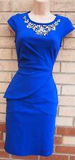 LIPSY ROYAL BLUE BANDAGE BEADED NECK PEPLUM BODYCON PENCIL PARTY XMAS DRESS 4