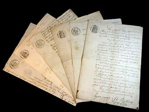 LOT OF SIX OLD DOCUMENTS 1800s