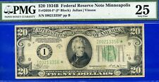 *Crazy Rare 1934-B $20 FRN (( Minneapolis STAR ))  PMG Very Fine 25 # I00213356*