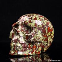 737g Large Natural Dragon Blood Stone Quartz Crystal Hand Carved Skull Healing