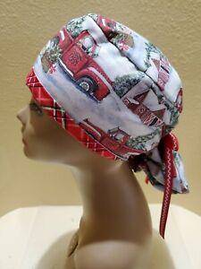 Christmas Tree Farm Women's Ponytail Surgical Scrub Hat/Cap Handmade