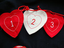 Noël Cœur Tissu Calendrier de L'Avent Guirlande de Décoration avec Poches Pour