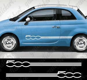 2x Fiat 500 Streifen Dekor Sticker Aufkleber Tuning Abarth Seitenstreifen Stripe