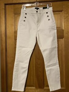 NWT Ann Taylor Sailor Jeans In White Size 8