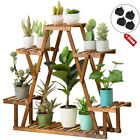 4Tier Wood Plant Stand Stable Triangular Flower Display Rack Corner Ladder Shelf