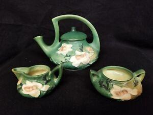Roseville Pottery Magnolia Teapot, Sugar and Creamer