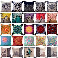 """18"""" Cotton Linen Sofa Car Home Waist Cushion Cover Throw Pillow Case XMAS GIFT"""