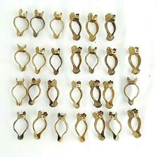 "Antique Brass Curtain Rings Victorian Holder Hangers Brackets Clips 1.5"" Germany"