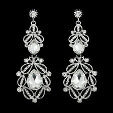 GORGEOUS 18K WHITE GOLD PLATED CUBIC ZIRCONIA LONG DANGLE STATEMENT EARRINGS