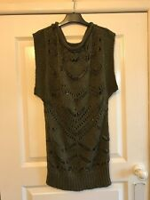 Ladies Green & Silver Thread Loose Knit Sleeveless Jumper - Size UK 8 - George