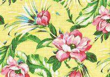 Waverly Fabric Malibu Palms Yellow Pink Green  Cotton Drapery Upholstery