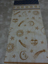 Sun moon shooting stars beige blue gold crafts remnant fabric piece 60x140cm